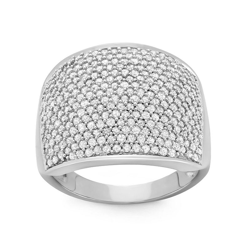 Womens 1 1/2 CT. T.W. Genuine White Diamond 10K Gold Cocktail Ring