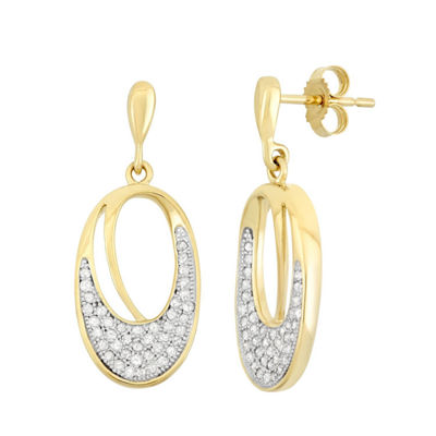 3/8 CT. T.W. Genuine White Diamond 10K Gold Drop Earrings