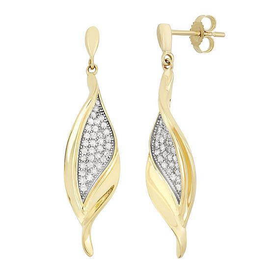 3/8 CT. T.W. Genuine White Diamond 10K Gold Drop Earrings