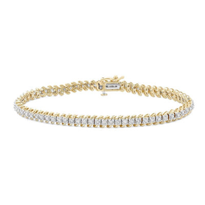 1 CT. T.W. Genuine White Diamond 10K Gold 7 Inch Tennis Bracelet