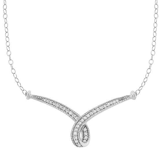 Womens 1/4 CT. T.W. Genuine White Diamond 10K Gold Statement Necklace