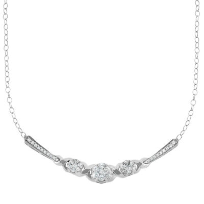 Womens 1/2 CT. T.W. Genuine White Diamond 10K Gold Statement Necklace