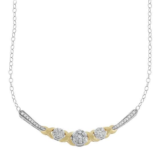 Womens 1 2 Ct Tw Genuine White Diamond 10k Gold Statement Necklace