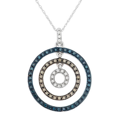 Womens 3/8 CT. T.W. Blue Diamond 10K Gold Circle Pendant Necklace