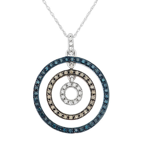 Womens 3/8 CT. T.W. Genuine Blue Diamond 10K Gold Circle Pendant Necklace