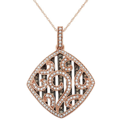 Womens 1 1/5 CT. T.W. Genuine Brown Diamond 10K Gold Pendant Necklace