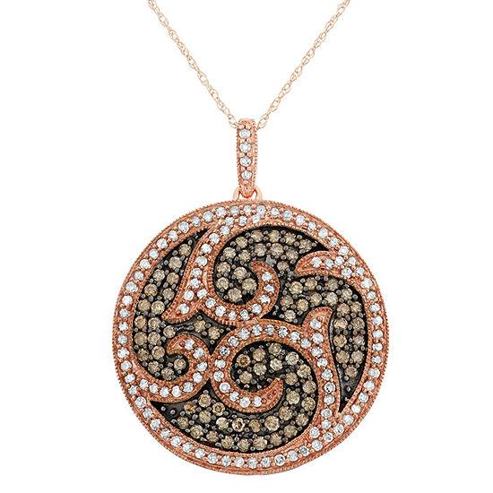 Womens 1 1/2 CT. T.W. Genuine Brown Diamond 10K Gold Pendant Necklace