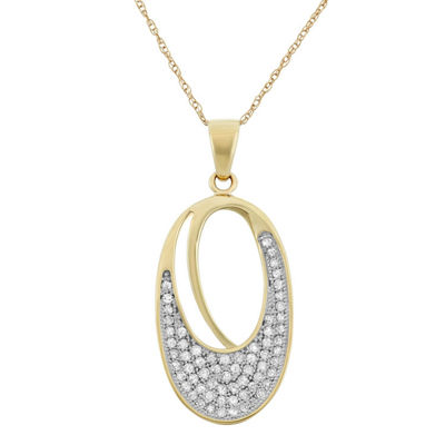 Womens 1/3 CT. T.W. Genuine White Diamond 10K Gold Pendant Necklace