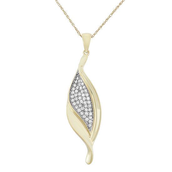 Womens 1/3 CT. T.W. Genuine White Diamond 10K Gold Pendant Necklace