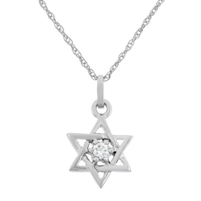 Star Of David Womens Diamond Accent Genuine White Diamond 10K Gold Star Pendant Necklace