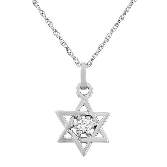 Star Of David Womens Diamond Accent Genuine White Diamond 10K Gold Star Pendant Necklace