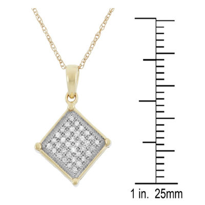 Womens 1/8 CT. T.W. White Diamond 10K Gold Pendant Necklace