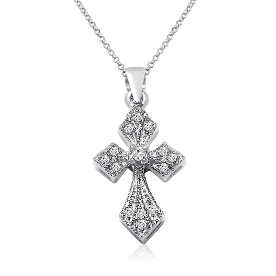 bc4304ab24ae7 Womens 1/10 CT. T.W. Genuine White Diamond 10K Gold Cross Pendant Necklace