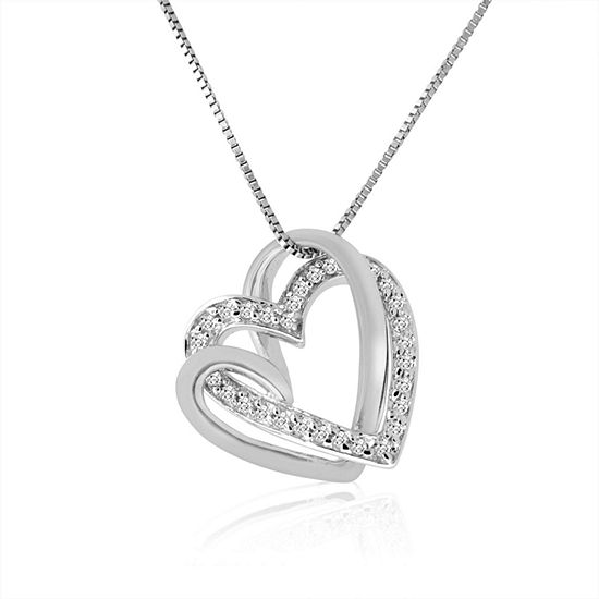 Womens 1/6 CT. T.W. Genuine White Diamond 10K Gold Heart Pendant Necklace