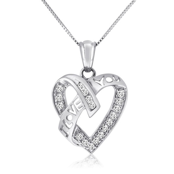 Womens 1/4 CT. T.W. White Diamond 10K Gold Pendant Necklace