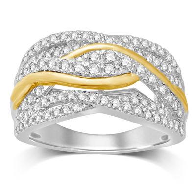 Womens 1 CT. T.W. Genuine White Diamond 10K Gold Band