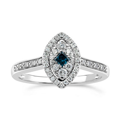 Womens 1/3 CT. T.W. Genuine Blue Diamond Sterling Silver Halo Cocktail Ring