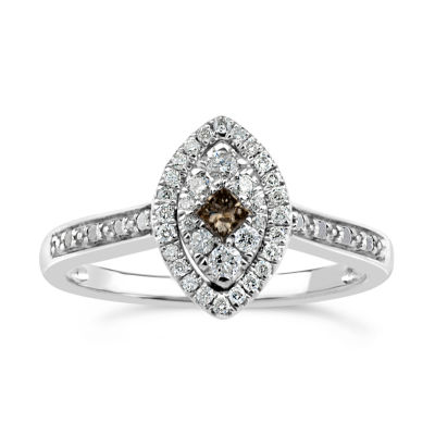 Womens 1/3 CT. T.W. Genuine Champagne Diamond Sterling Silver Cocktail Ring