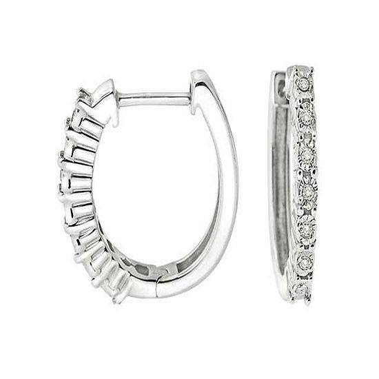 Diamond Accent Genuine White Diamond Sterling Silver Hoop Earrings