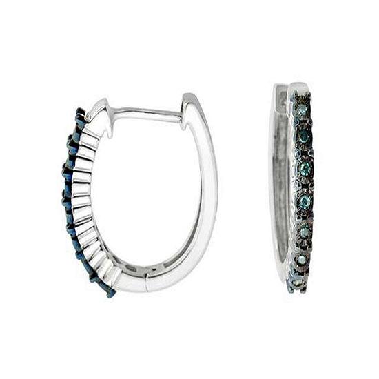 Diamond Accent Blue Diamond Sterling Silver Hoop Earrings