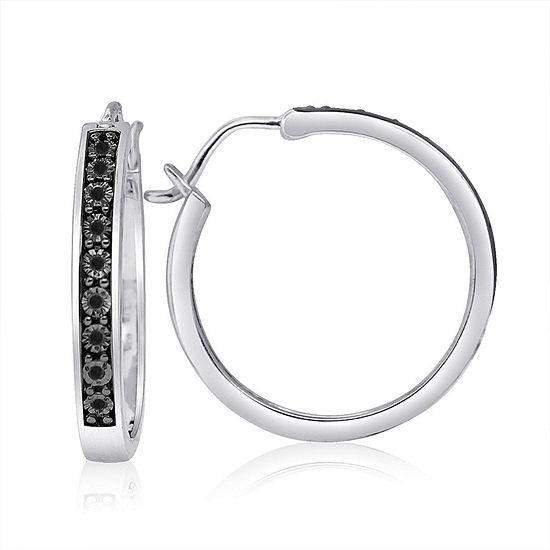 1/10 CT. T.W. Black Diamond Sterling Silver 25mm Hoop Earrings