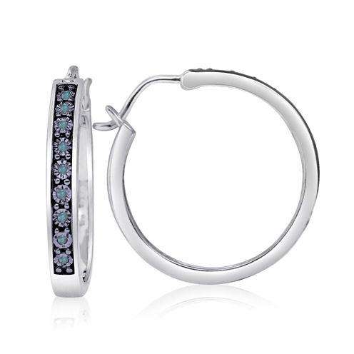 1/10 CT. T.W. Blue Diamond Sterling Silver Hoop Earrings