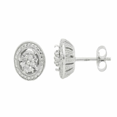 1/10 CT. T.W. Genuine White Diamond Sterling Silver Stud Earrings