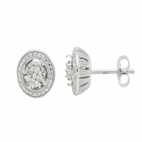 1/10 CT. T.W. Genuine White Diamond Sterling Silver Stud Earrings