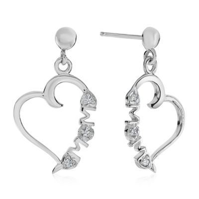 Diamond Accent Genuine White Diamond Sterling Silver Heart Drop Earrings