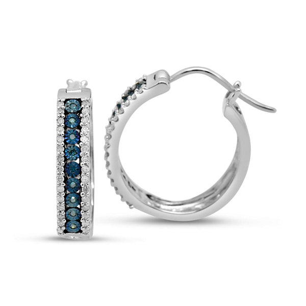 1/2 CT. T.W. Blue Diamond Sterling Silver Hoop Earrings