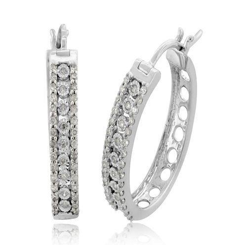 1/2 CT. T.W. White Diamond Sterling Silver Hoop Earrings