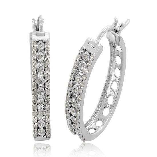 1/2 CT. T.W. Genuine White Diamond Sterling Silver Hoop Earrings