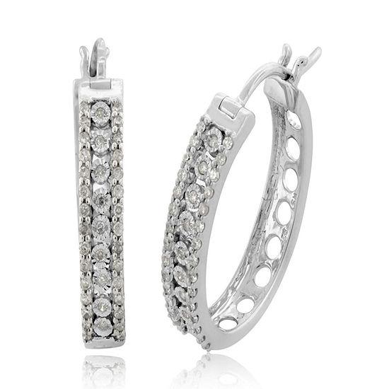 1 2 Ct Tw Genuine White Diamond Sterling Silver Hoop Earrings