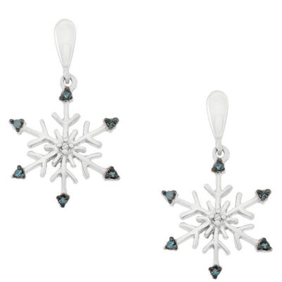 Diamond Accent Blue Diamond Sterling Silver Drop Earrings