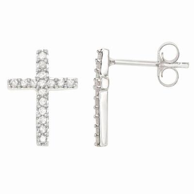 1/4 CT. T.W. Genuine White Diamond Sterling Silver Cross Stud Earrings