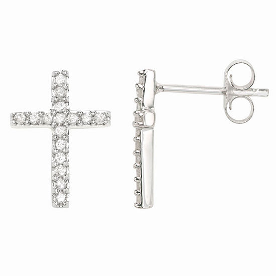 1/4 CT. T.W. Genuine White Diamond Sterling Silver Cross Stud Earrings