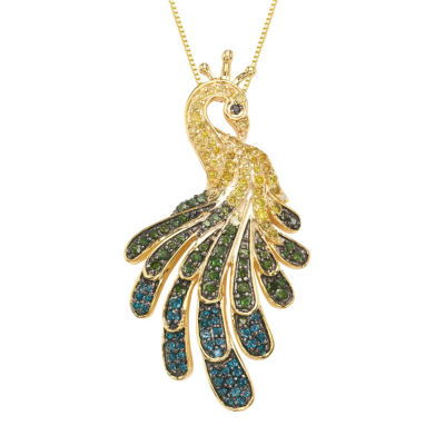 Womens 7/8 CT. T.W. Multi Color Diamond Gold Over Silver Pendant Necklace