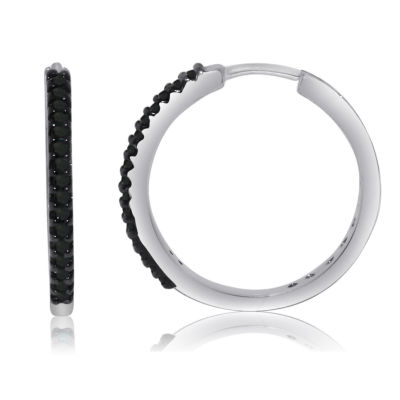 1/4 CT. T.W. Black Diamond Sterling Silver Hoop Earrings