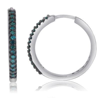 1/4 CT. T.W. Blue Diamond Sterling Silver Hoop Earrings