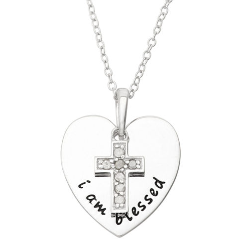 1/10 CT. T.W. Diamond Cross Sterling Silver Pendant Necklace