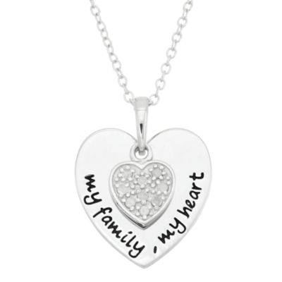 "1/10 CT. T.W. Diamond ""My Family My Heart"" Sterling Silver Pendant Necklace"