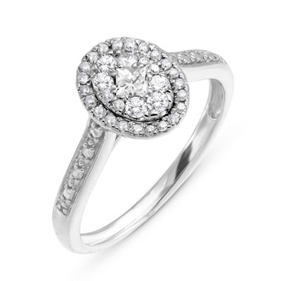 Womens 1/3 CT. T.W. Genuine White Diamond Sterling Silver Halo Cocktail Ring