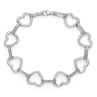 Womens 7.5 Inch White Diamond Sterling Silver Link Bracelet