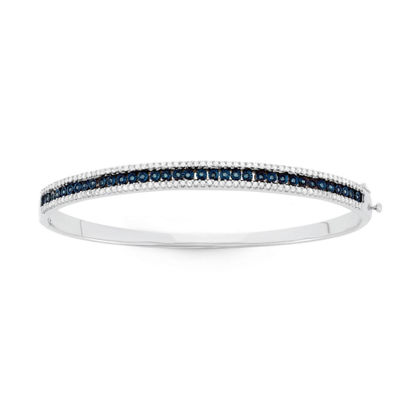 1 CT. T.W. Blue Diamond Sterling Silver Bangle Bracelet