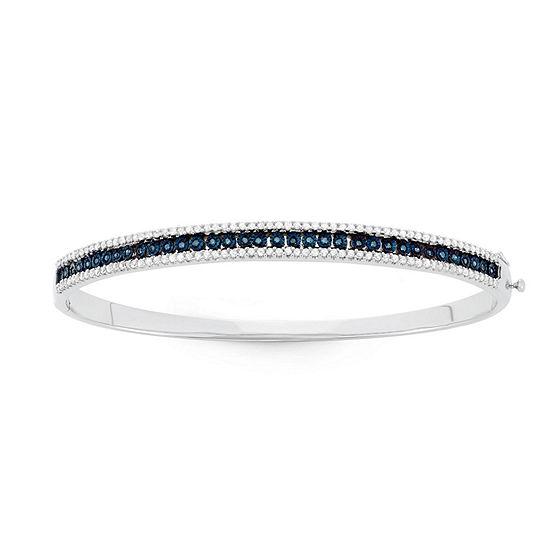1 CT. T.W. Blue Diamond Sterling Silver Bangle Bracelet