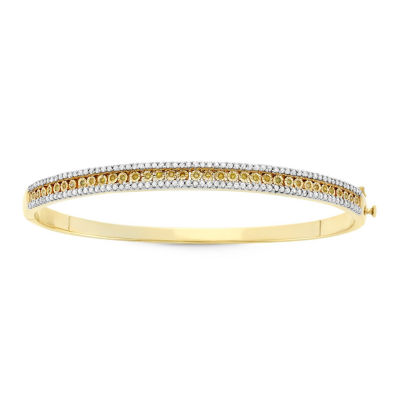 1 CT. T.W. Yellow Diamond 14K Gold Over Silver Bangle Bracelet