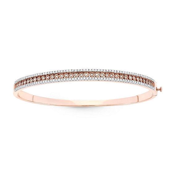 1 CT. T.W. Genuine White Diamond Sterling Silver Bangle Bracelet