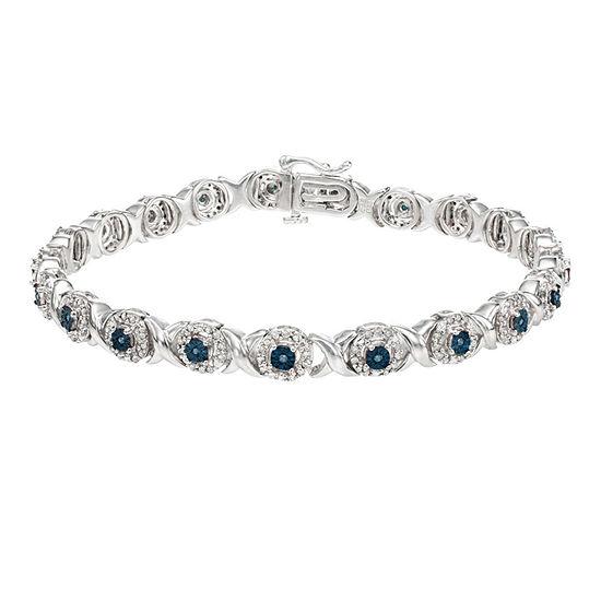 1 CT. T.W. Blue Diamond Sterling Silver 7 Inch Tennis Bracelet