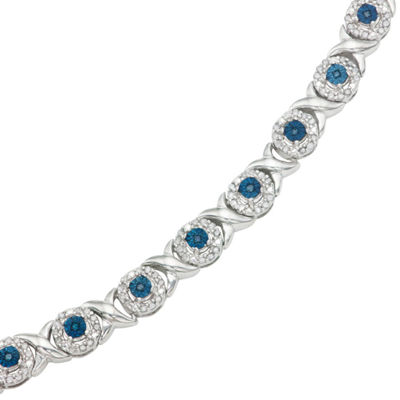 1 CT. T.W. Blue Diamond Sterling Silver 7 Inch Tennis Bracelet