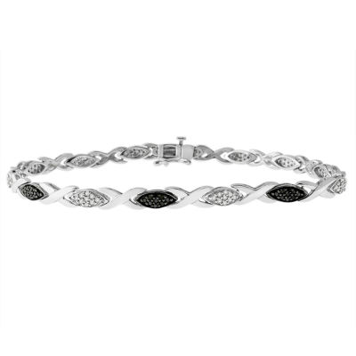 Womens 1/2 CT. T.W. Black Diamond Sterling Silver Tennis Bracelet